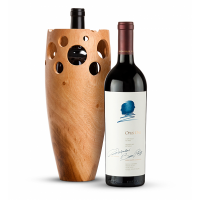 Opus One 2017 with Handmade Wooden Wine Vase