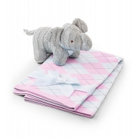 Soft Elephant and Argyle Baby Blanket Set
