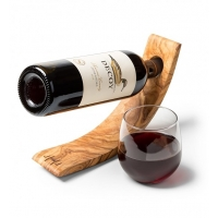 Olive Wood Floating Wine Holder with Wine