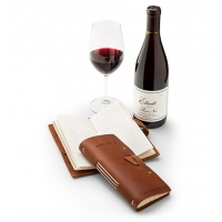 Embossed Leather Wine Log with Red Wine