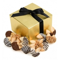 One Dozen Chocolate Dipped Fortune Cookies with Themed Messages